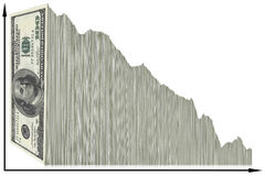 US Dollar graph. Vertical US 100 dollar bills used in a graph decreasing from left to right. Theme: Decreasing value of US dollar royalty free illustration