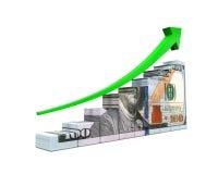 US Dollar and Green Arrow Stock Photo