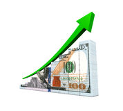 US Dollar and Green Arrow Royalty Free Stock Photography