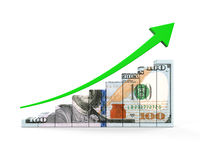 US Dollar and Green Arrow Royalty Free Stock Image