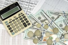 100 US dollar, home finance plan concept. business and financial report with money, calculator on desk of financial. Advisor. Accounting and Investment Analysis royalty free stock photos