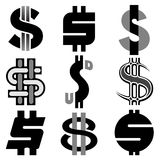 US dollar icon set Royalty Free Stock Image