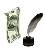 US Dollar, inkwell,  feather.  Writing & money Royalty Free Stock Photos
