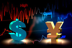 US Dollar and Japanese Yen Currency Exchange, 3D Rendering Royalty Free Stock Photos