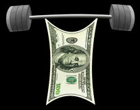 US Dollar lifting heavy barbell of success. Isolated Royalty Free Stock Photography