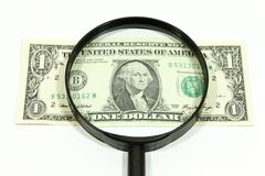 US dollar with magnifying glass Royalty Free Stock Photo