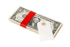 US dollar med adressetiketten Arkivbild