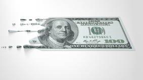 US Dollar Melting Dripping Banknote Stock Photos