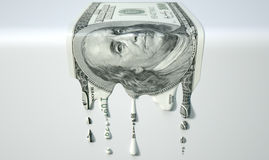 US Dollar Melting Dripping Banknote Stock Photos