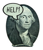 US Dollar Money Economy Jobs Banking Finance Debt. Graphic design with many uses: George Washington from the US one dollar bill needing help. The subject could stock photo