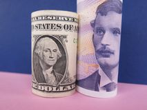 US dollar and Norwegian krone. Banknotes on pink and purple background Royalty Free Stock Images