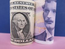 US dollar and Norwegian krone. Banknotes on pink and purple background Royalty Free Stock Photography