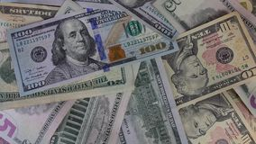 US dollar notes stock footage