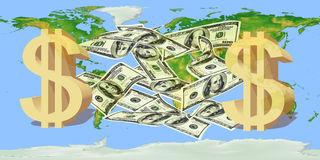 US dollar notes with a dollar sign against the world map Royalty Free Stock Image