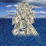 US dollar notes falling in sea from sky Royalty Free Stock Photography