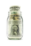 US dollar notes in glass jar Stock Photo