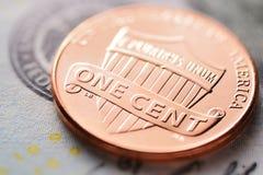 US dollar och cent Arkivbild