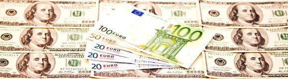 US dollar och euro Royaltyfria Bilder
