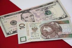 US dollar- och polermedelzlotysedlar Arkivbild