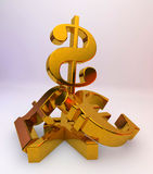 US dollar over a pile of Pound, Euro,Yen Royalty Free Stock Photo