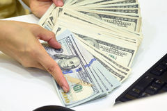 100 US dollar pengar Royaltyfri Fotografi