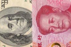 US-Dollar Rechnung und China-Yuanbanknotenmakro Lizenzfreie Stockfotos