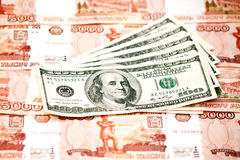 US Dollar and ruble. Two currencies - US Dollar and ruble Stock Photos