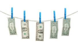 US Dollar's Hanging on Rope isoalted Royalty Free Stock Photography