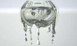 US-Dollar schmelzende Bratenfett-Banknote stockfotos