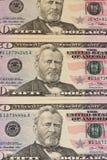 50 US dollar sedlar bakgrund eller textur Arkivfoto