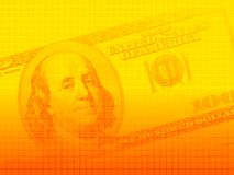 US dollar series 1. Artistic background of a US$100 bill with a crosshatched pattern, in yellow-orange hues. Image proportions suitable for presentations and vector illustration