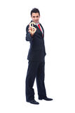 US dollar sign. Businessman holding US dollar sign with color stock photos