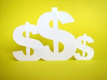 Us dollar sign cut from paper Royalty Free Stock Images