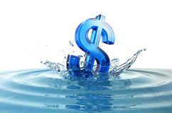 Us dollar sign falling into water with splash. And concentric waves Stock Photography