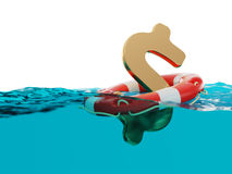 US Dollar Sign Inside of Lifebuoy Split Level 3d Illustration Stock Images