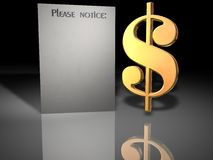 US dollar sign and notice. A three-dimensional illustrated rending of a golden US dollar sign and a blank note nearby with header Please Notice Stock Photo