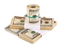 US dollar som isoleras på den vita closeupen Royaltyfri Bild