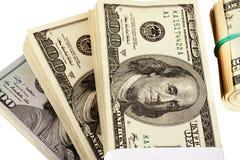 US dollar som isoleras på den vita closeupen Royaltyfria Bilder