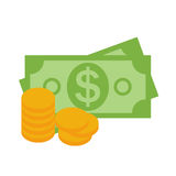 US Dollar Stack Paper Banknotes and Gold Coins  Icon Sign Busine Stock Photography
