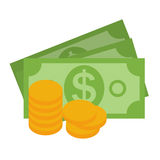 US Dollar Stack Paper Banknotes and Gold Coins  Icon Sign  Stock Photo