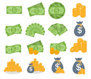 US Dollar Stack Paper Banknotes and Gold Coins Icon Sign  Royalty Free Stock Photos