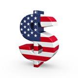 Us dollar symbol. Us dollar flag texture symbol isolated on white background Royalty Free Stock Photos