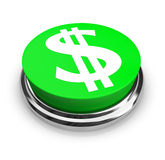 US Dollar Symbol - Button. A green button with the US Dollar symbol on it Royalty Free Stock Photos