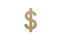 US dollar symbol made from wood isolated on white background Stock Images