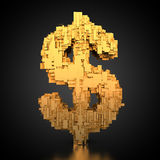 US-Dollar symbol with tech texture. 3D rendering: golden US-Dollar symbol with tech texture on black background Stock Photography