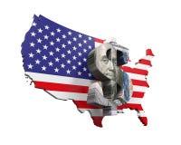 US-Dollar Symbol und Karte lizenzfreie abbildung