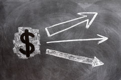 US Dollar symbol with up arrows Stock Photo