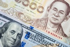 US Dollar and Thai baht banknote background in concept of money. Exchange, currency trading, business and relationship between America and Thailand stock images