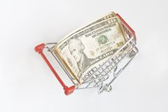 US Dollar in the trolley Stock Photos