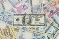 US dollar and UAE Dirhams Royalty Free Stock Photo